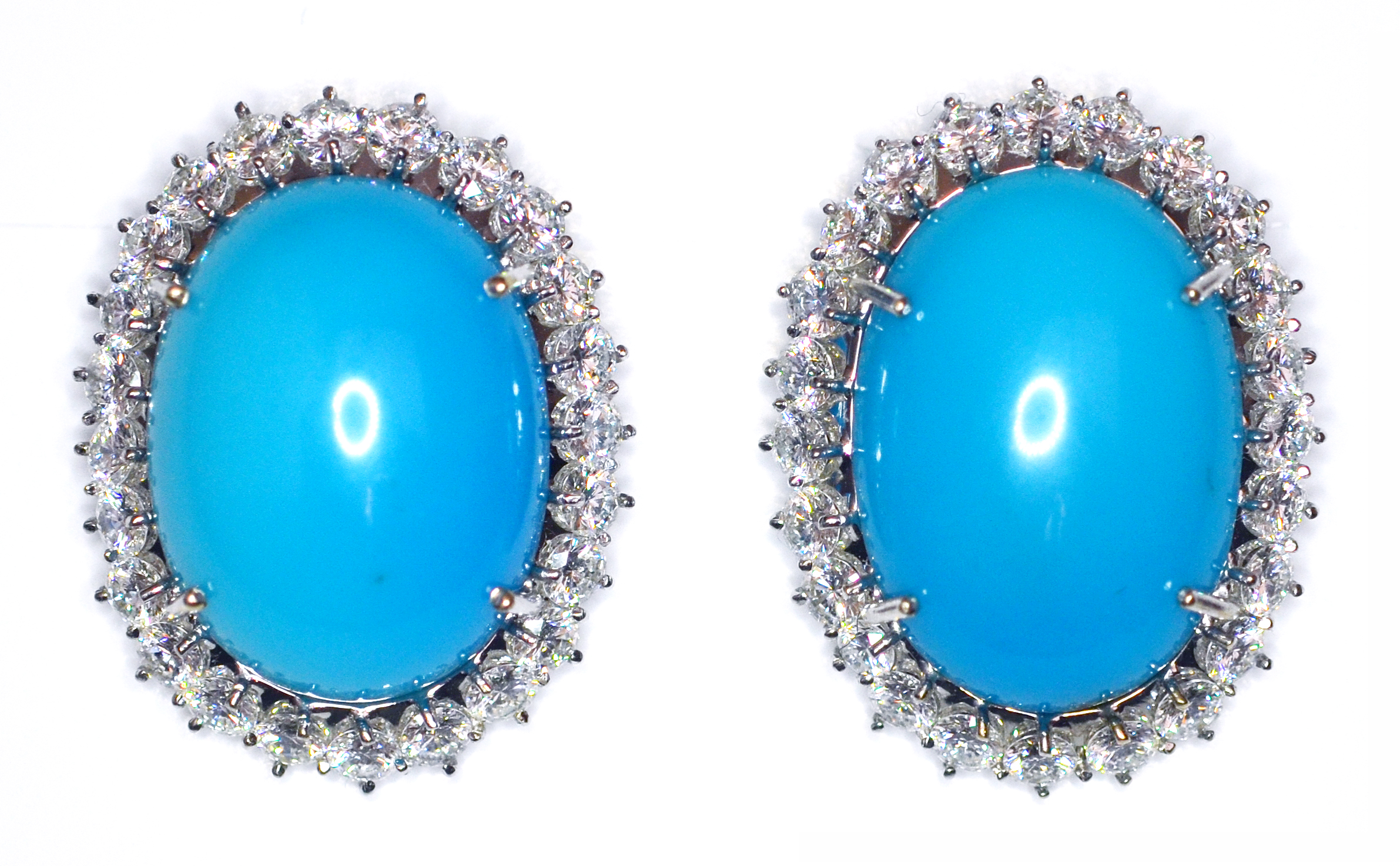 Vintage Persian Turquoise Diamond Earrings